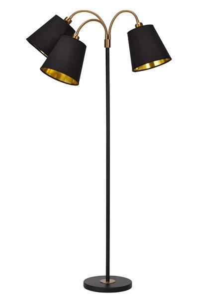 Golvlampa Mässing Svart 3 arm Cia, Skärm svart guld Swelamp