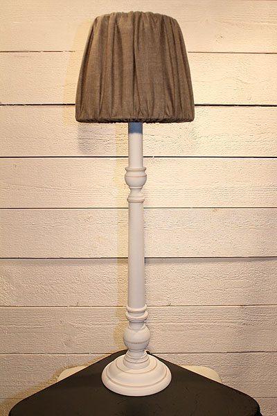 Bordslampa vit lampfot Lexington Antikvit Linn 20 lampskärm