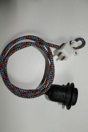 Multifärgad textilkabel med takkontakt