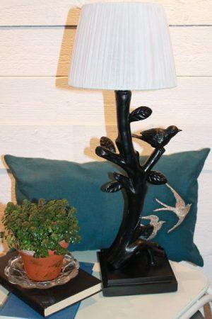 Lampa bordslampa fågel svart vit