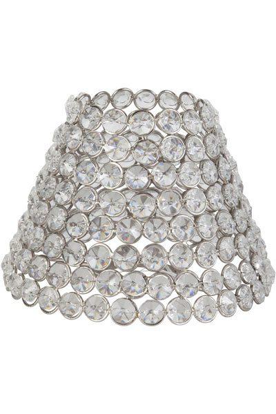 Lampskärm med glasprismor i glas och metall