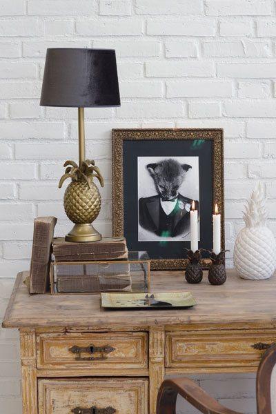 Bordslampa Pineapple Oxid Skärm Roma Brun