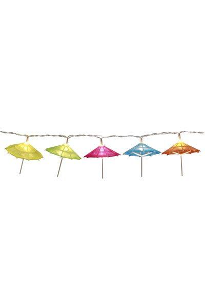 Ljusslinga Paraply. Ljusslinga med 10 st multifärgade paraply LED lampor som har ett varmvitt sken. Avstånd mellan lamporna är 15 cm.