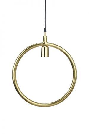 Taklampa Circle Gold. Fincirkel formad taklampai guld.Svart textil sladd 3,5 meter med väggkontakt. Sockel E27. Finns i två storlekar. Notera att 45 cm har något längre lamphållare, se bilderna.