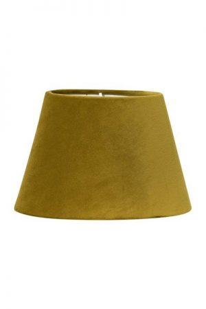Lampskärm Sammet Senap Oval. Oval lampskärm i senapsfärgad sammet. Levereras med klofäste. Skärm Oval finns i flera storlekar och färger.