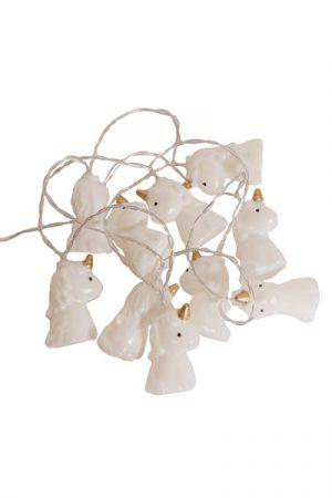 Ljusslinga Unicorn. Ljusslinga med 10 st Unicorn LED lampor som har ett varmt sken. Lamporna har olika färger när den lyser. Avstånd mellan lamporna är 15 cm. Anslutningskabel 50 cm, 4,5V DC, med strömbrytare. IP 20. Drivs med 2 st Batteri AA (medföljer inte).