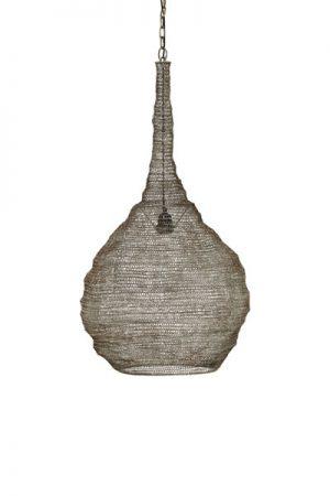 Industriell känsla med Kimberley taklampa i metallnät. Handgjord lampa med1,2m sladd och takkopp i metall. För krokupphäng. Matcha med englobformad ljuskälla 95-125mm i valfri färg.