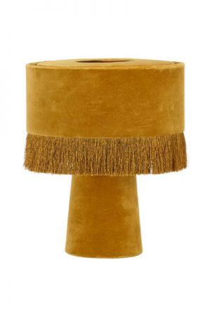 Bordslampa Alexis Guld. Underbar bordslampan som har en enkel design med ett mjukt intryck. Både lampskärmen och lampfoten är i sammet, skärmen har en franskant. Lampan har en 1,5 meter lång vit sladd. Sockel E27. Lampan finns i tre olika färger.