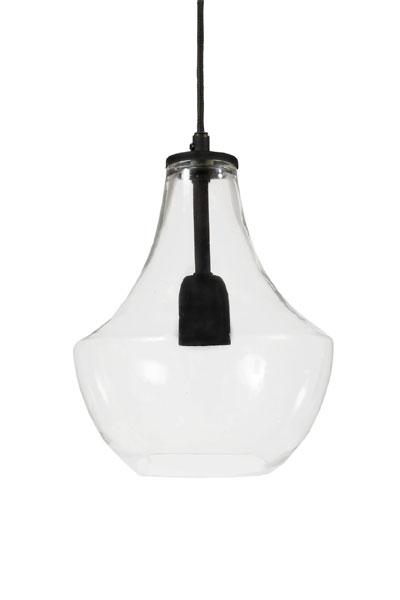 Taklampa Hamilton. Taklampa i klart handgjort glas och svart matt metall. En modern glaslampa med klassisk form. Det handgjorda glaset kan ha små ojämnheter vilket också gör att ljuset reflekteras fint. Matcha med en normal E27 ljuskälla 60mm i valfri färg. Lampan finns i två storlekar.