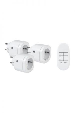 Fjärrströmbrytare 3-pack Vit.3-pack fjärrströmbrytare för inomhusbruk. Max belastning 3000W. Standby energiåtgång