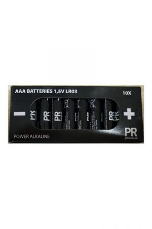 AAA Batteri LR03 1,5V Alkaliskt 10-pack. Alkaliskt batteri från PR Home som håller en spänning på 1,5V.