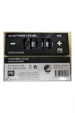 AA Batteri LR6 1,5V Alkaliskt 10-pack. Alkaliskt batteri från PR Home som håller en spänning på 1,5V.