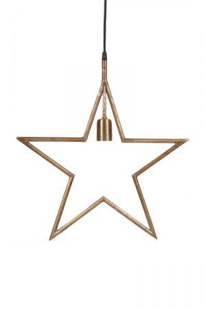 Tindra Hanging Star Råmässing 45 cm.Snygg hängande adventsstjärna i råmässing. Stjärnan har en industriell design med en 3,5 meter lång textilsladd med väggkontakt. Finns i flera färger. Rekommenderad ljuskälla är Elect LED Filament, 95 mm.