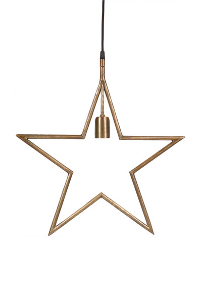 Tindra Hanging Star Råmässing 45 cm