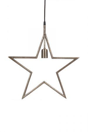 Tindra Hanging Star Råsilver 45 cm.Snygg hängande adventsstjärna i råsilver. Stjärnan har en industriell design med en 3,5 meter lång textilsladd med väggkontakt. Finns i flera färger. Rekommenderad ljuskälla är Elect LED Filament, 95 mm.