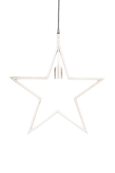 Tindra Hanging Star Vit 45 cm.Snygg hängande adventsstjärna i vit metall. Stjärnan har en industriell design med en 3,5 meter lång textilsladd med väggkontakt. Rekommenderad ljuskälla är Elect LED Filament, 95 mm.