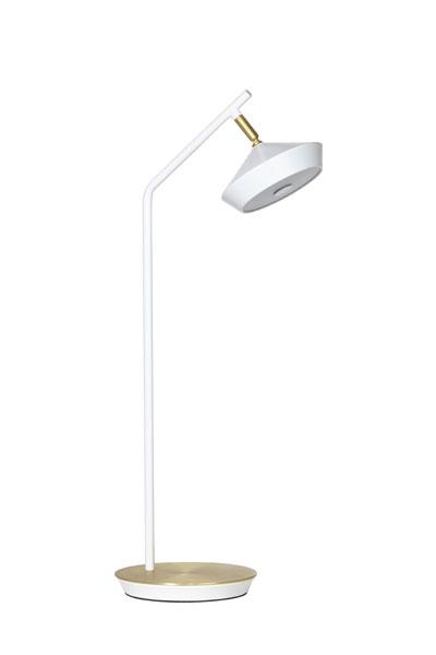 Skrivbordslampa Geometri Vit. Bord/Skrivbordslampa från PR Home som har en modern form som håller över tid. Integrerad LED lampa med dimmer på kabeln som gör det enkelt att tända och släcka samt justera ljusstyrkan. Tack vare den frostade plattan ger lampan ett jämt och behagligt sken. Skärmen är justerbar för att kunna vinkla ljuset. Matt lackerad metall med mässingsfärgade detaljer.