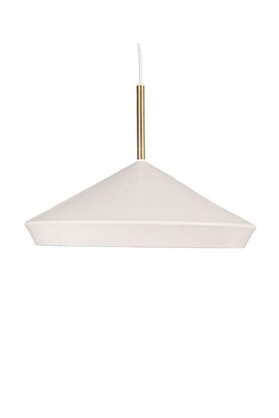 Taklampa Geometri Vit. Taklampa från PR Home som har en modern form som håller över tid. Lampan har 3 st E27 fästen. Max 25W. Tack vare den frostade plattan ger lampan ett jämt och behagligt sken. Lampan levereras med takkopp i samma färg som lampan. Matt lackerad metall med mässingsfärgade detaljer.