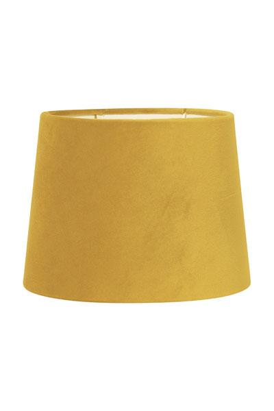 Lampskärm Sofia Sammet Gul. En härlig lampskärm i underbar gul färg. Skärmen finns i flera olika färger och storlekar. Lampskärmen har en ljus insida som ger ett behagligt sken och är lätt att matcha med olika lampfötter. Lampskärmen har ett E27 ringfäste.