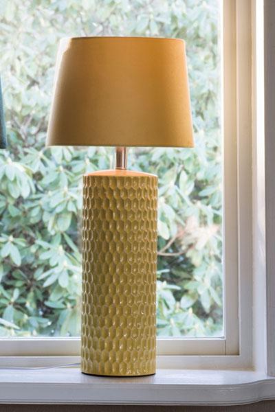 Bordslampa Honeycomb Gul Skärm Sofia Gul