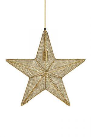 Stjärna Orion Guld. Vacker stjärna i guldfärgat metallnät som finns i två storlekar. Metallnätet ger stjärnan ett vackert sken. Stjärnan har 3,5 meter svart textilkabel med väggkontakt. Sockel E27.