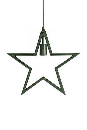 Stjärna Carla Grön. Stjärna i grön metall från PR Home. Stjärnan har textilsladd 3,2 meter i samma gröna färg som stjärnan. Max 25W. Sockel E27. A++-E.