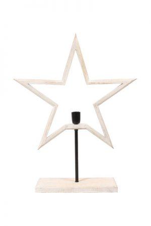Farm Star on Base Vit. Snygg adventsstjärna på fot i trä som finns i två storlekar och två färger. Stjärnan har 1,8 meter svart textilsladd. Sockel E27. Max 40W. A++-E.