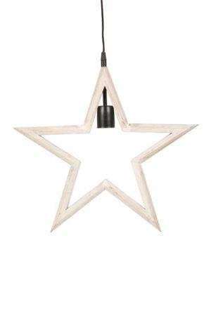 Farm Star Vit. Stjärna i vitlaserat trä, lamphållare i svart, svart textilsladd 3,5 meter med väggkontakt. Sockel E27. Finns i två storlekar. Till stjärnan som är 42 cm rekommenderar vi 60 mm bred glödkälla, till stjärnan som är 56 cm rekommenderar vi 95 mm bred glödkälla.