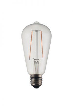 Vintage LED Filament Clear Edison. Vintage är en bas-serie på ljuskällor där man har fokuserat på prisvärdhet framför den perfekta high-end prestandan. En mycket prisvärd ljuskälla som täcker in basbehoven i de flesta sammanhang. Dimbar LED lampa. 2W, 2200K, 20000H, 200 lm. Sockel E27.